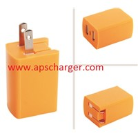 DUAL USB Mini USB  US Charger adaptor folded plug