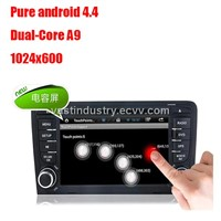Android4.4 2 car dvd gps with 1024 x 600 resolution for audi A3 with mirror link DVR