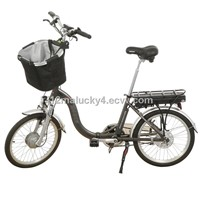 Electric folding bike with basket in front