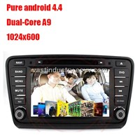 Android 4.4 in dash car radio with 1024x600 resolution for Skoda Octavia 2014 with mirror link