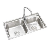 Best kitchen sink factory product, double bowls stainless steel sink(Model No.: 7239A)