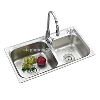 Popular Double Bowls Stainless Steel Kitchen Sink(Model No.: 7239A)