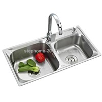 Double Bowls Stainless Steel Sink with Good designd(Model no.:7842A)