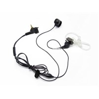 Air tube earpiece with finger PTT for two-way radio