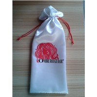 Satin white hair extension bag drawstring hair bag
