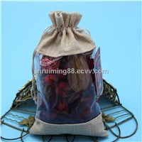 Hot selling wholesale  burlap cosmetic package with window
