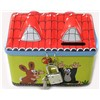 fancy tin house shape coin bank with lock