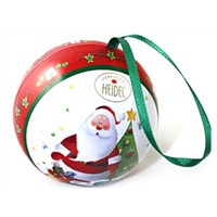 Christmas gift ball shape metal tin box