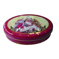 christmas custom embossed tin box for biscuit