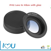 M42 lens adapter ring with glass for Nikon D series camera