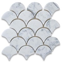 Carrara marble grand fan shaped mosaic tile