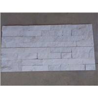 white quartzite stacked stone panel