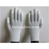 13 Guage carbon yarn knitting glove with white fingertip pu coating gloves