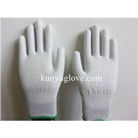carbon yarn antistatic glove,carbon glove with pu palm coating