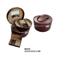 Travel round jewelry box (B0049)