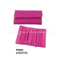 Pink pu jewelry roll(P0009)
