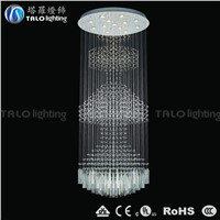 large glass crystal chandeliers LED round pendant lighting for hotel project