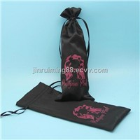 Satin black hair extension bag drawstring hair bag