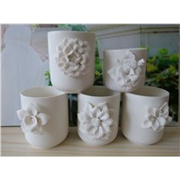 White Ceramic Candle Jar With Flower
