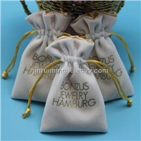 White felt custom printed velvet drawstring bags, custom velvet jewelry bag for gift