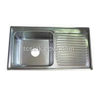 Stainless Steel With Drainboard Topmount Installation Without Faucet Hole
