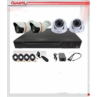 4ch AHD kit with 1mp Dome/Bullet Cameras