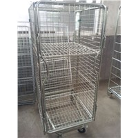 Wire mesh folding roll container