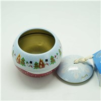 Ball shape christmas gift tin box with rope