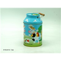 Milk bottle tin can coin bank saving with handle
