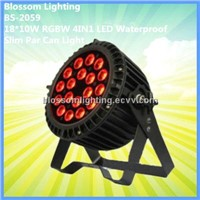 18*10W RGBW 4IN1 LED Waterproof Slim Par Can Light (BS-2059)