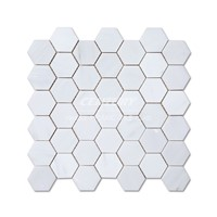 2'' Hexagon White Marble Mosaic Tile for Floor