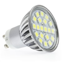Chrome+glass cover 3.5w 220v 350lm 24smd 5050 2700k led gu10