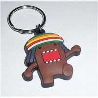 Eco-friendly material PVC rubber key chain with logo embossed