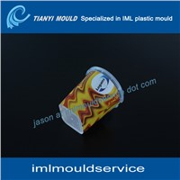plastic wall mould with iml label, plastic food contianer mold with iml