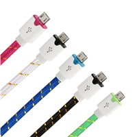 Flat colorful nylon braided micro usb cable