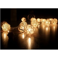 5CM 20 Storm Cream White Rattan Ball Fairy Lights