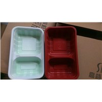 plastic food tray PP material with 2 compatment