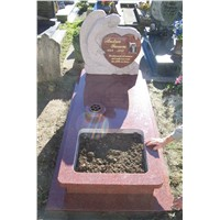Red granite headstone new style monument