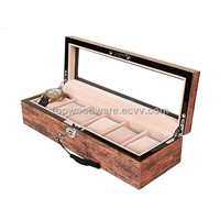 Brown High Gloss Finish Wooden Watches Display Storage Packaging Gift Box