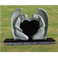 double angel with heart headstone black monument
