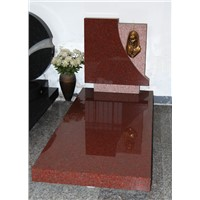 red headstone granite monument with slab