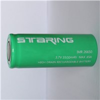 High discharge rate 65A Staring 26650 battery 3.8V 3500mah li-ion battery
