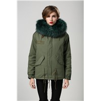 Latest design wholesale racoon collar casual fur garment army green shell long coat korea style