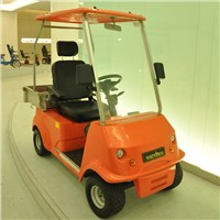 Single seater electric golf cart with cargo box