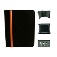 Built-in power bank leather tablet case with tablet holder