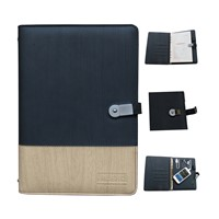 business gift,Built-in power bank notebook with metal U disk buckle