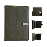Built-in power bank notebook with metal U disk buckle and mobile phone case and Ipad mini holder