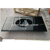 Black Marquina vanity top with sink, bathroom vanity sink top