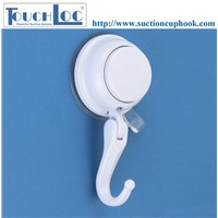 Made in China self adhesive plastic hooks push to lock suction cup hook red warning