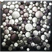 brush finished aluminium metal mosaic for wall or floor decoration